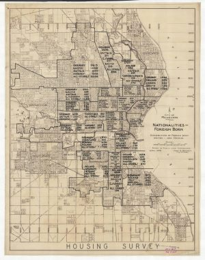 Based on 1930 census data, this map illustrates the the number of foreign-born peoples from various caucasian backgrounds living in different areas of the city of Milwaukee.