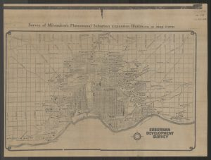 This Milwaukee suburban development survey from 1926 shows the outward community expansion from the original city center.