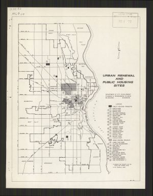 This 1971 map denotes the various public housing and urban renewal projects that had been built throughout the City of Milwaukee.