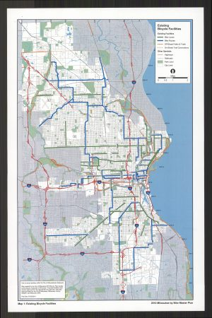 This map from 2010 illustrates the existing facilities available to area cyclists within the City of Milwaukee.