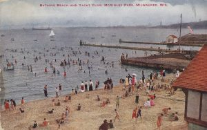 This postcard published between 1907 and 1930 illustrates a crowd of people enjoying Lake Michigan from the McKinley Park beach.
