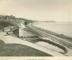 This 1895 photograph provides a view of the lake front looking north from Juneau Park.