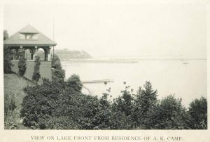 The 1895 residence of jewel merchant Arthur K. Camp, once located on Prospect Avenue, looked northeast onto Lake Michigan.