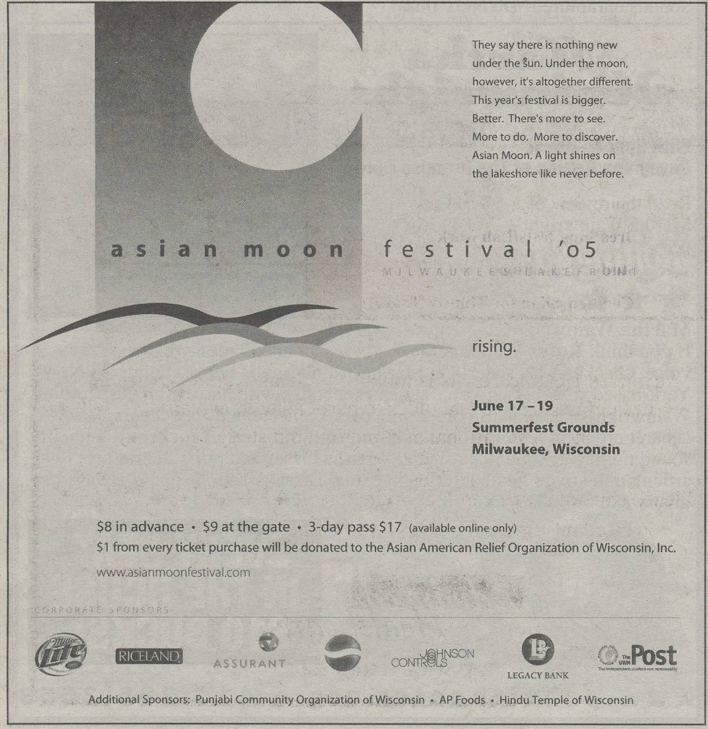 Milwaukee's Asian Moon Festival was held annually between 1994 and 2005. This newspaper advertisement is from the final year of the festival.