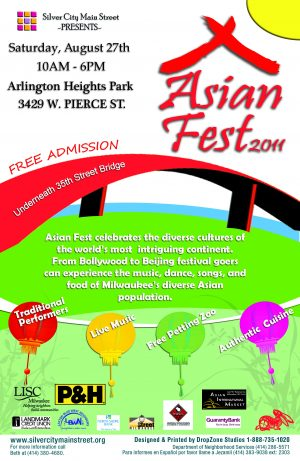 Following the end of Asian Moon Festival, the Silver City Asian Fest was held for a short time afterward. This poster is from the 2011 festival, held in Arlington Heights Park.