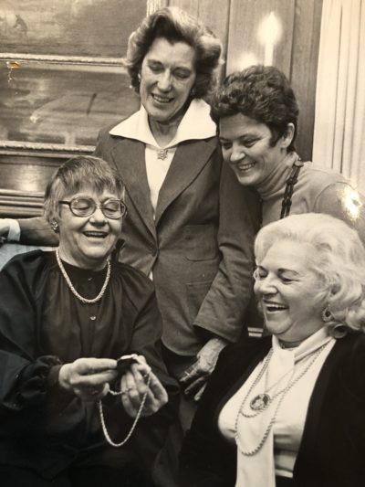 In 1978, Catherine Conroy (seated, left) was honored as Woman of the Year by the Milwaukee chapter of NOW. In this photograph with her, from left to right, are Katherine Clarenbach, Mary Jean Collins, and Gene Boyer.