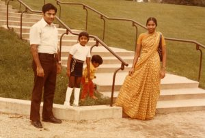 A family of South Asian heritage, consisting of two children and their parents, visits Mitchell Park in 1972.