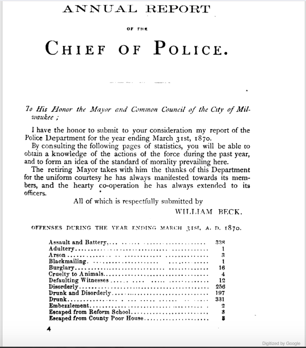 After his first appointment in 1855, William Beck intermittently served as Milwaukee's police chief until 1882. Pictured here is an excerpt of his 1870 annual report to city officials.