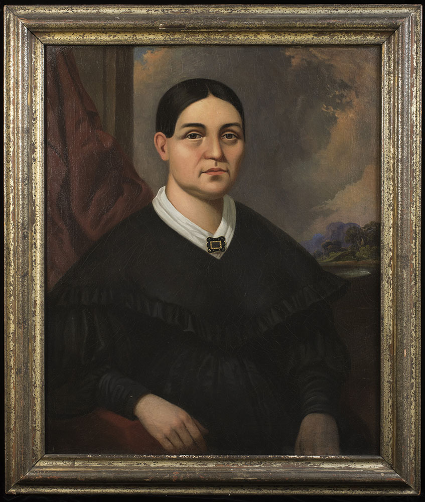 Painting, oil.  Milwaukee, Wisconsin.  Oil painting on canvas.  Portrait of Josette Vieau Juneau, 1852 (from life).  Artist: G. P. A. Healy (Chicago).  Water gilt frame.